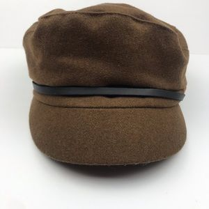 NEW Nine West Brown Wool Felt Newsboy Hat